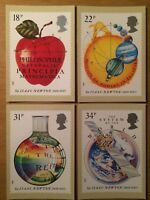 Set of 4 Royal Mail PHQ Cards - No 100 - Sir Isaac Newton - Issued 24 March 1987