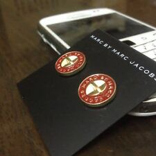 New Marc By Marc Jacobs Gold & Deep Red Logo Button Disc Stud Earrings