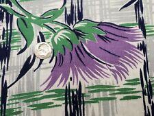 Best Vintage Feedsack Quilt Fabric 40s Art Deco Purple Flowers Flour Full Sack