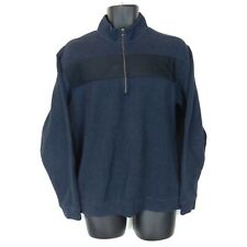 Tiger Woods Collection Men's Medium Navy Blue 1/4 Zip Cotton Pullover Sweater