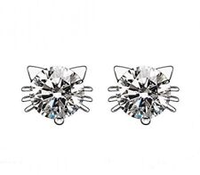 925 Sterling Silver Imitation Diamond Crystal Inlaid Cat Stud Earrings (White)