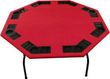 "52"" Octagon Red Felt Poker Table Folding Steel Legs. For Texas Holdem Card Games"