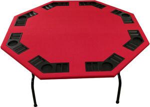 "52"" Octagon Red Felt Poker Table W/ Folding Steel Legs 4 Texas Holdem Card Games"