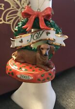 2005 Danbury Mint Brown Dachshund Dog Christmas Ornament Joy Wreath With Box