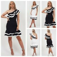 WOMEN'S LADIES FRILL TRIM ONE SHOULDER RUFFLE BODYCON DRESS PARTY COCKTAIL NEW