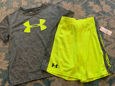 Nwt Under Armour Boy Size 7 Outfit Set Gray & Neon Yellow