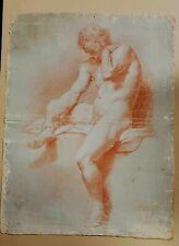 Nudo Maschile antico disegno a sanguigna del sec. XIX