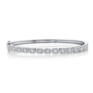 "14K White Gold Baguette Diamond Bangle Bracelet Womens Size 17 Small 6.5"" 0.86CT"