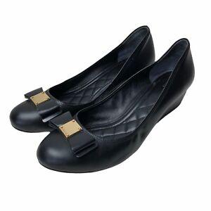 Cole Haan Womens Wedge Slides Heels Bow Black Waterproof K15-BT Grand OS Size 11