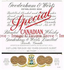 1940s CANADA Ontario GOODERHAM & WORTS CANADIAN BENDED WHISKY label