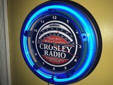 Crosley Radio Repair Store Advertising Man Cave Blue Neon Wall Clock Sign