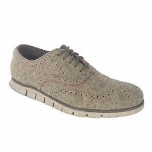 Cole Haan Zerogrand Stitchlight Grand.OS Wingtip Tan Beige Shoes Men's Size 10