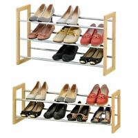 2 3 Tier Extendable Shoe Rack Shelf Organiser Stand Storage Unit Footwear Holder