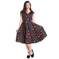 Hell Bunny Black Cherry Pop Rockabilly 1950s Vintage Retro Flared Pinup Dress