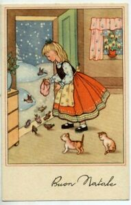 Series Complete of 6 Postcards Children Kittens Hallows Christmas PC about 1940