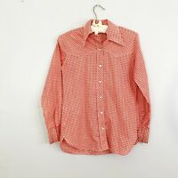 WRANGLER True Vintage Western Cowgirl Pearl Snap Shirt Red Check Plaid Size 30