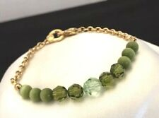Swarovski Bracelet Green Crystals Authentic Swan Signed Classic 5N