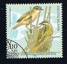 GERMANIA 1 FRANCOBOLLO BENEFICENZA UCCELLI SEGGENROHRSÄNGER 1998 timbrato (BD666