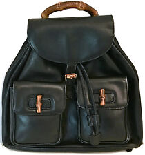 "GUCCI 12"" Black Calfskin Leather Backpack with Bamboo Details Shoulder Bag Auth"