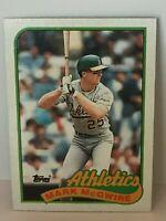 1989 Topps Mark Mcgwire baseball card Oakland A's Mint #70 Mcguire Athletics MLB