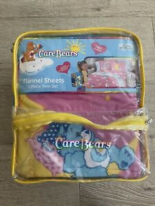 Care Bears 3 Piece Flannel Sheet Set TWIN Y2k Kids c.2003 New Old Stock Backpack