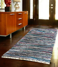 LARGE MULTICOLOR CHINDI RAG RUG HAND LOOMED INDIAN FAIR TRADE RECYCLED WOVEN MAT