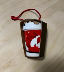 Starbucks Christmas Holday 2011 Ceramic To-Go Cup Ornament, Dog With Boy On Sled