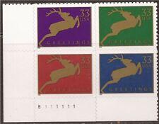 US Stamp - 1999 Christmas Reindeer - 4 stamp Plate Block - #3356-9