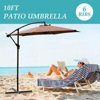 10FT Outdoor Patio Umbrella Canopy Market Shelter Multi-Color Tilt W/Crank Brown
