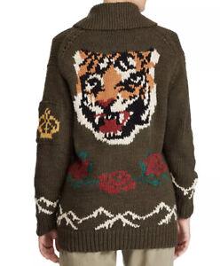 $598 Polo Ralph Lauren Medium Sweater Intarsia Green Tiger RRL Rugby Bear Unisex