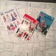 Vtg Barbie Doll Pattern booklet 3 Pc Coats Clark Butterick  Simplicity Wardrobe
