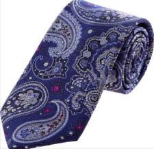 William Hunt: Savile Row Blue Paisley Print Silk Tie - {RRP £95}