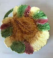 "Antique Early Majolica Plate Autumn Leaf Royal Dux Czechoslovakia Large 10.5"""