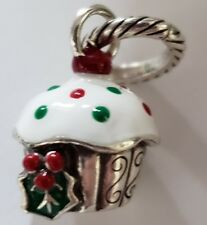 BRIGHTON CHRISTMAS HOLLY CUPCAKE ENAMEL RED GREEN WHITE SILVER CHARM PENDANT
