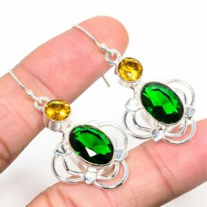 """Chrome Diopside - Russia & Citrine Gemstone 925 Sterling Silver Earring 1.88"""""""