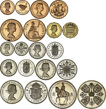 Great Britain: Complete proof set Farthing - Crown 1953 (lacquered)