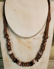 "Cookie Lee Necklace 18"" Adj Copper Pink Black Cream Beads EUC"