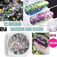 DAZZLING Aurora Chameleon Nail Flakes Holographic Shining Nails Powder Sequins