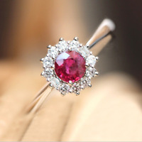 925 Silver Rose Red Topaz Flower Promise Wedding Ring Womens Engagement Jewelry