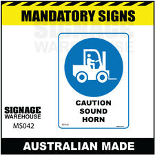 MANDATORY SIGN - MS042 - CAUTION SOUND HORN ( FORKLIFT ICON)