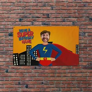 Personalised Happy Birthday Face & Name Superhero 5x3ft Banner