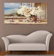 Quadro moderno Stampa su Tela Cotone cm.120x60 Fiori Bianchi Arredo Casa Arte