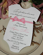 Baby Shower Invitation For Girl - Elegant Pink Bow Sash! Bow Color Can Change