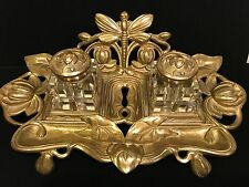 Antique ART NOUVEAU Dragonfly Lotus Brass Bronze and Crystal Victorian Inkwell