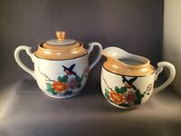 ANTIQUE TAN WHITE LUSTERWARE CREAMER & SUGAR BOWL FLORAL BIRD HAND-PAINTED JAPAN