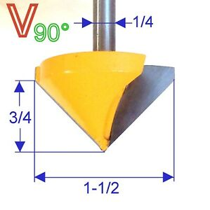 """1 PC 1/4"""" Shank 1-1/2"""" Diameter 90° V-Groove V Grooving Router Bit S"""