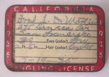Vint 1935 California Angling License in metal badge