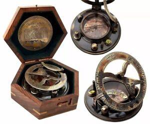 3'' Nautical Antique Brass Sundial Compass~Gilbert & sons London With Wooden Box