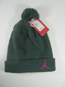 NIKE Kids Air Jordan Knit Pom Beanie Anthracite Pink Boys / Girls / Youth 8- 20