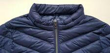 M&S women UK size 24 EU 52 XL navy BLUE 90% down autumn winter jacket zip & hood